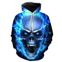 2018 3D Hoodies Sweatshirts Men Colorful Paint Skull 3D Print Pullovers Fashion Tops Popular Design Street