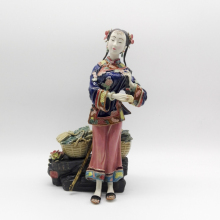 Ceramic Chinese Lady Statue Figure Craft Antique Collectibles Porcelain Figurine Christmas Painted Vintage Home Decor Handmade