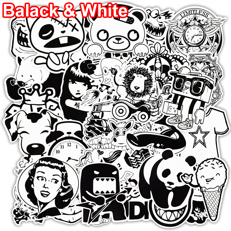 Cut Rate 101 Pcs Black And White Sticker Snowboard Car Styling