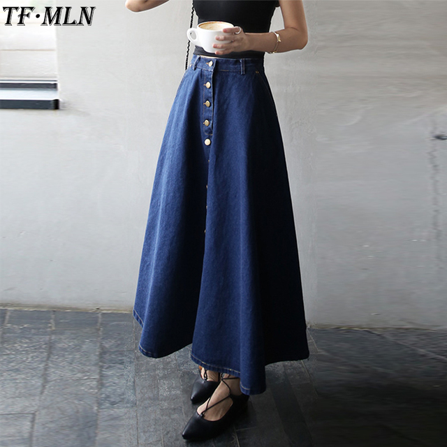 756ec1358 Summer 2018 Women Long Denim Skirt Femme Casual Loose High Waisted Single  Breasted Maxi Jean Skirt Saias Feminina skirts womens