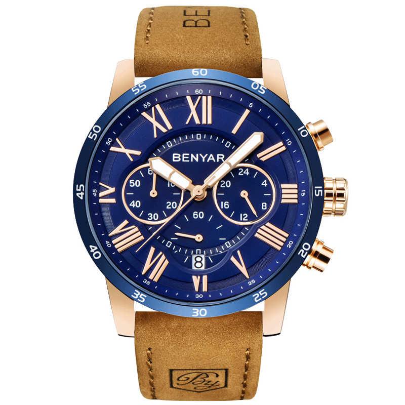 2019 Top luksusowa marka BENYAR modne niebieskie zegarki męskie zegarek kwarcowy męski chronograf zegarek z paskiem skórzanym Relogio Masculino