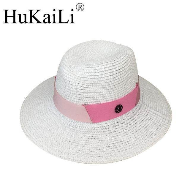 Nuevo blanco abnormity Sir sombrero de Paja rosa multicolor cinta de empalme doble negro M estándar hembra sombrero