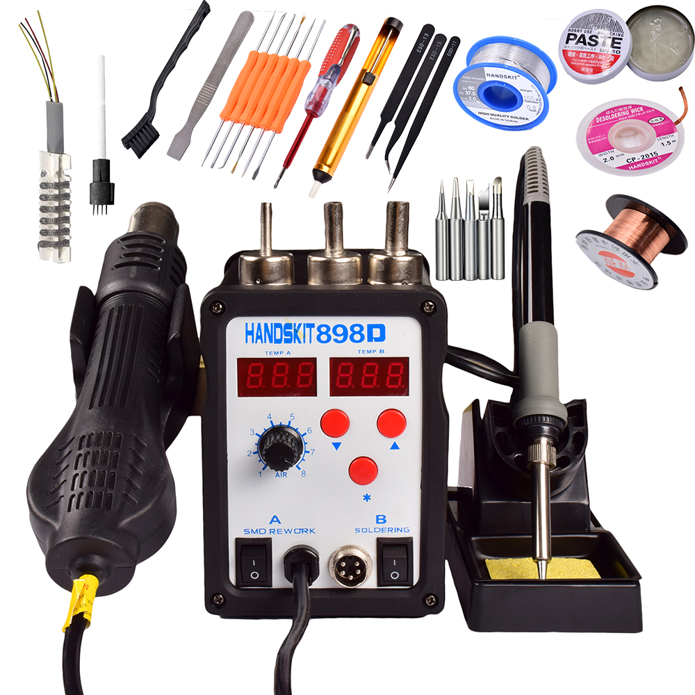 EU air soldering station 220V 898d 2in1 Rework Station Hot Air Gun + Solder Iron better than ATTEN  atten 2in1 at8502d lead free soldering station smd rework station hot air gun