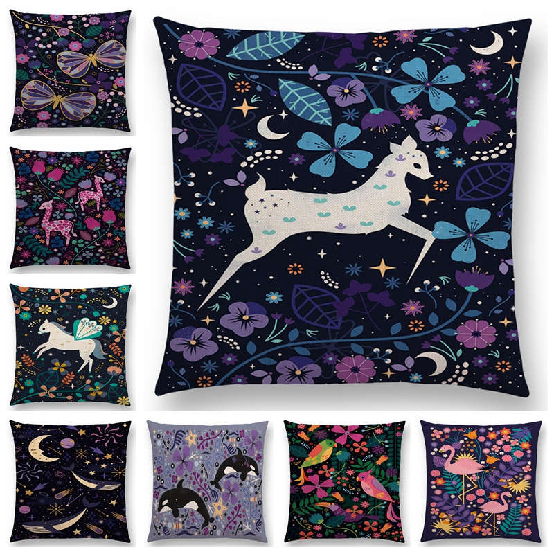 Newest Cute Cartoon AnimalsThrow Pillow Case Fox Flamingo Cat Cygnus Bird Narwhal Cushion Cover 25 Design Available