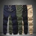 2015 Новая Мода Плюс Размер Шнурок Брюки Мужчины Fit Хлопок jogger брюки мужские Брюки Мужские шаровары цвета хаки грузов брюки