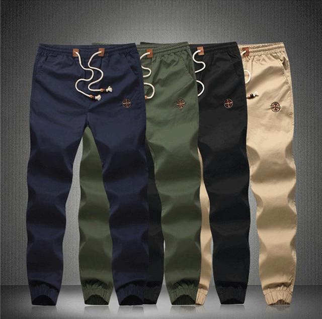 2015 New Fashion Plus Size Drawstring Men Pants Fit Cotton jogger pants  Men's Trousers Mens harem Pants khaki cargo pants