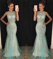 Gorgeous Crystals Beaded Mermaid Evening Dress Sleeveless O-Neck Mermaid Evening Gowns Luxurious Sexy Rhinestone Long Prom Dress