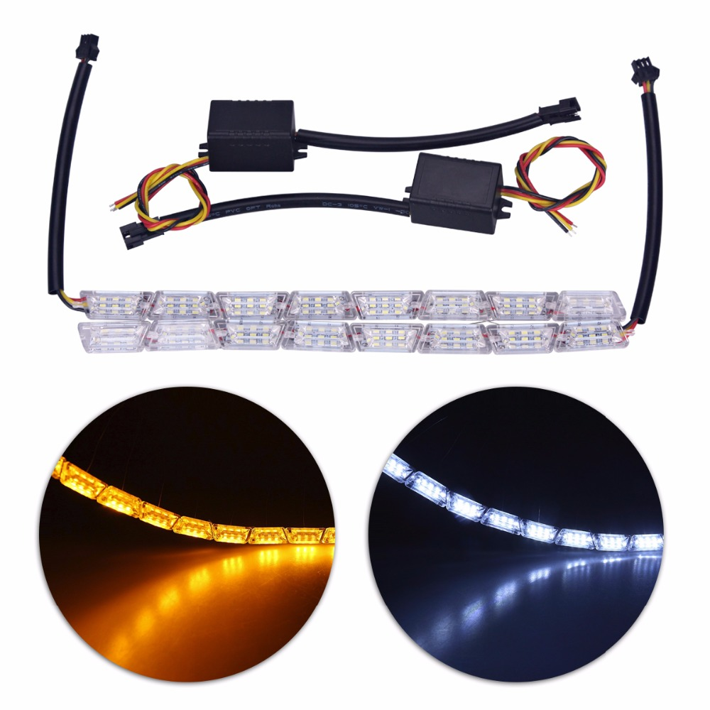 Auto Car Flexible Switchback LED Knight Rider Strip Light for Headlight Sequential Flasher DRL Flowing Amber Turn Signal Lights