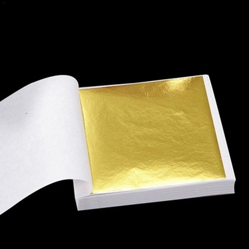 100 sheets Imitation Gold Silver Copper Leaf Foil Paper Gilding Craft hot sale f