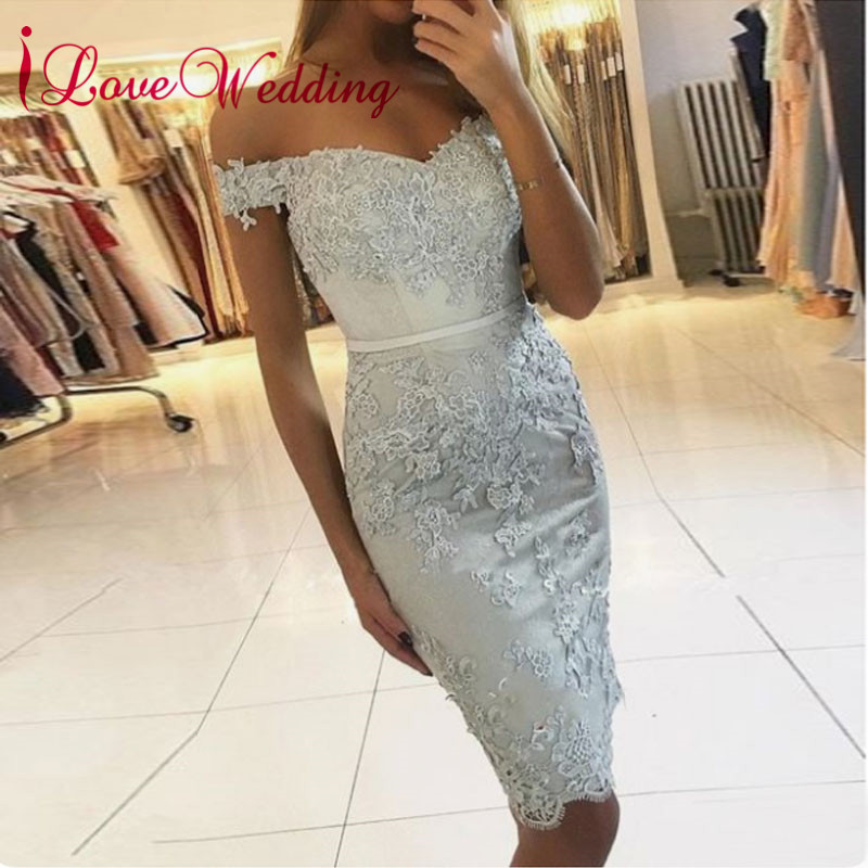 Off The Shoulder 2019 Cocktail Dresses Light Blue Short Dresses Lace Applique Robe Cocktail Knee Length Special Party Gowns