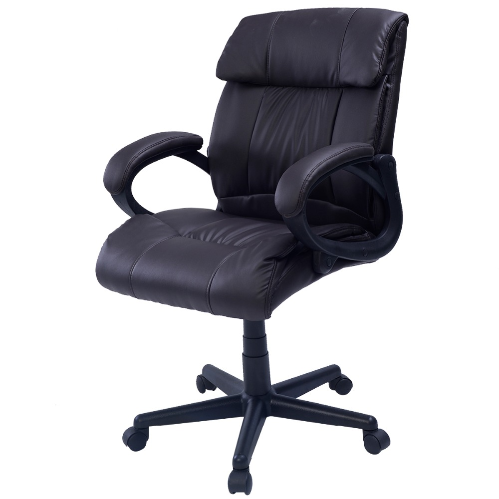 Goplus RU Padded Leather Office Chair Swivel Luxury Adjustable Computer Desk Gaming Chair High Back Armchairs CB10054 racing bucket seat office chair high back gaming chair desk task ergonomic new hw54987ltbl