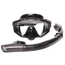 Yon Sub силиконовая профессиональная маска для подводного плавания, набор маска для дайвинга+ сухая черная трубка для подводной охоты