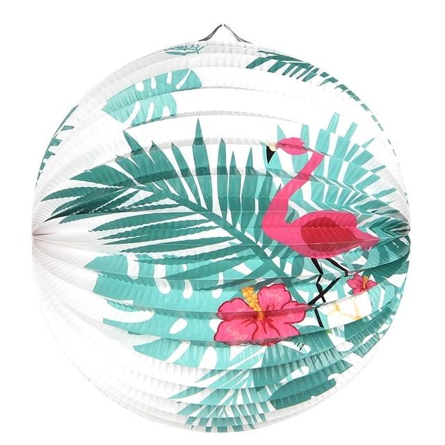 1 cái 23 cm Lá Cọ Flamingo In Accordion Xếp Li Giấy Đèn Lồng Nhiệt Đới Luau Đám Cưới Sinh Nhật Tắm Mùa Hè Đảng Trang Trí Nội Thất