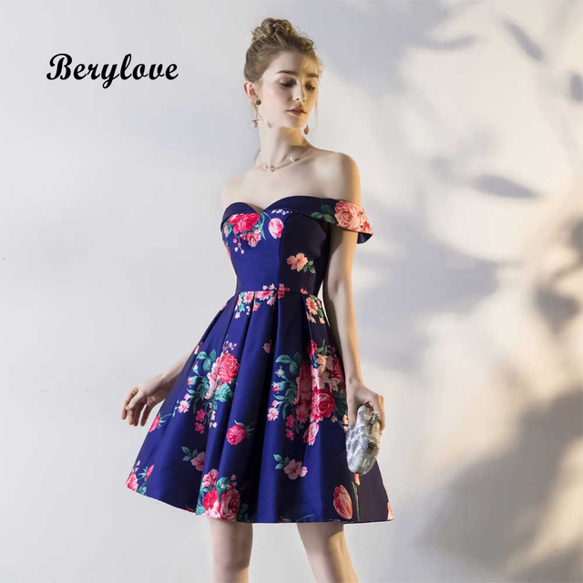 889297175213 BeryLove Fashion Short Royal Blue Floral Prom Dresses 2019 Off Shoulder  Homecoming Dress Mini Homecoming Gowns Cocktail Dress