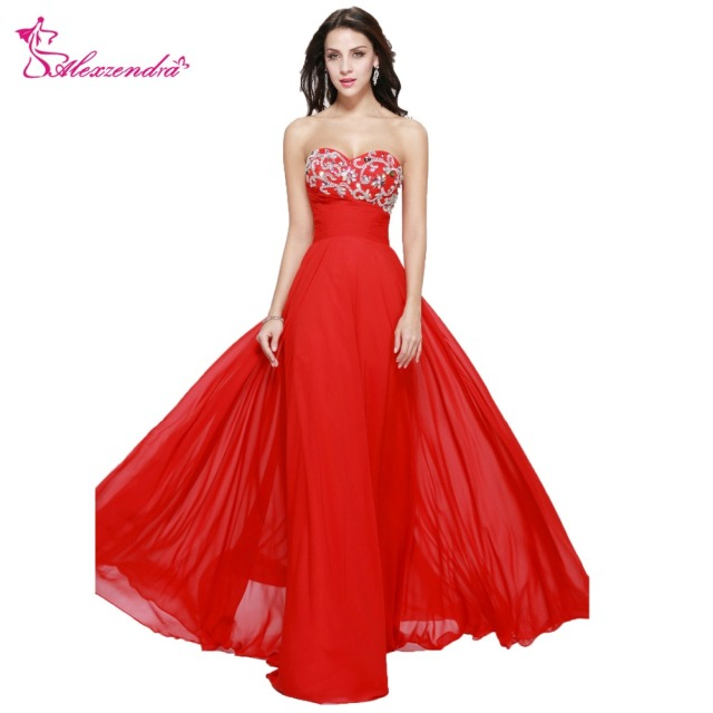 Alexzendra Beaded Crystal Cheap Long Prom Dresses Plus Size Evening