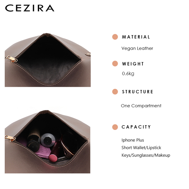 CEZIRA Brand Designer Women Shoulder Flap Bags High Quality Vegan Leather Handbag Ladies Solid Girl Fashion Cross body Messenger 4