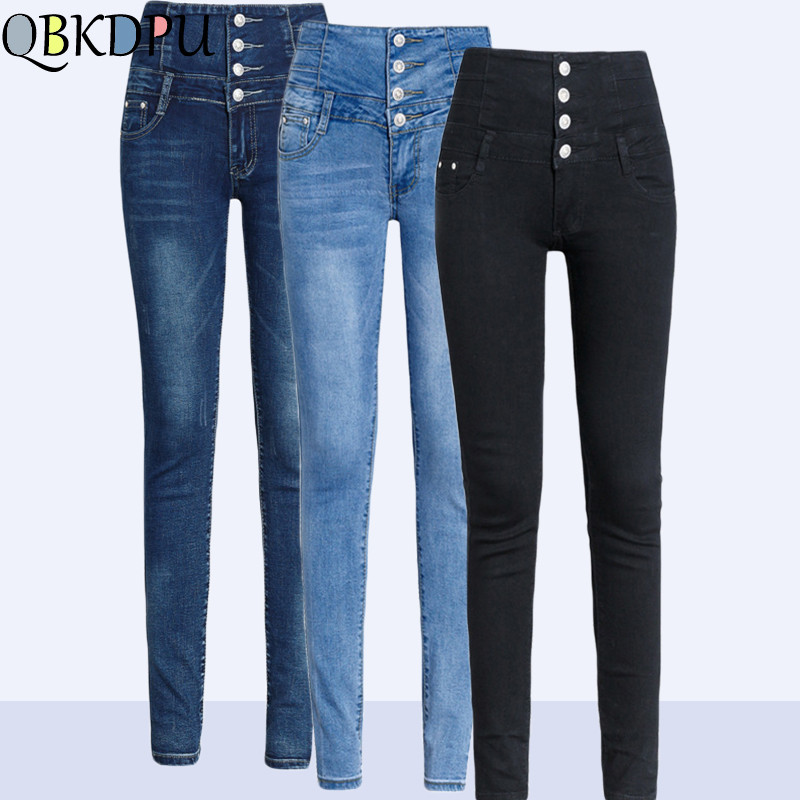 2019 Women Skinny Stretch Denim Pants Female Spring Summer Pencil Pants Mom's Plus Size Casual Elastic High Waist Jeans Mujer