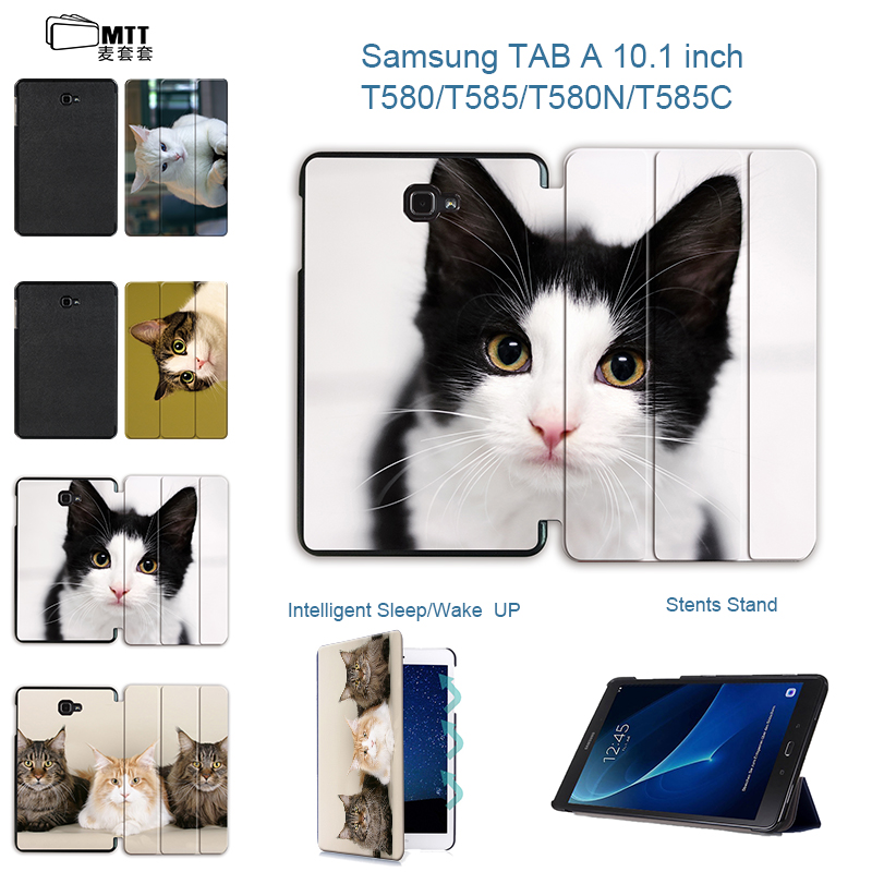 MTT Cute Cat Smart Flip PU Stand Case For Samsung Galaxy Tab A 10.1 2016 T585 T580 SM-T580 T580N Tablet Protective case cover fashion painted flip pu leather for samsung galaxy tab a 10 1 sm t580 t585 t580n 10 1 inch tablet smart case cover pen film