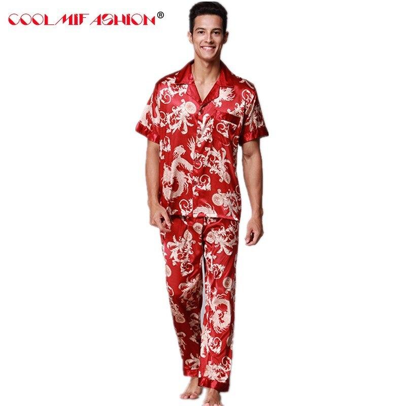 579dadb543 New Arrival Silver Mens Silk Pajamas Set Shirt+ Pants 2PCS Nightwear  Chinese Style Sleepwear M L XL