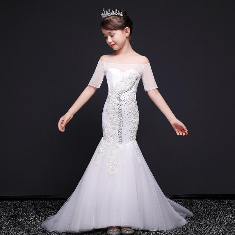 Children Ball Gown Baby   Girls     Dress   Embroidery Princess Mermaid   Dress   Wedding Party Costume Kids Pageant   Flower     Girls     Dress   Y696