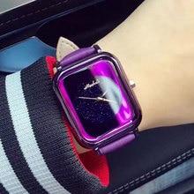 Señoras de La Manera Brillante Color de Línea Cuadrada mujeres De Lujo Marca de Relojes de Cuero Mujer Reloj de pulsera Para Mujer relojes mujer montre