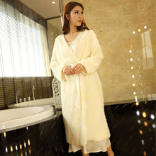 New Winter Women's Nightgown Velvet Long Robe Beige Sleepwear Princess Nightgown lady Pyjama Robes Free Shipping(China)