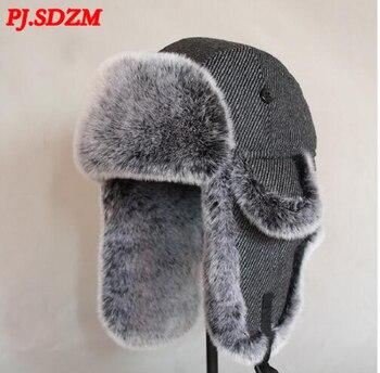 ZM bombardero sombrero hombres lana invierno nieve sombreros Pom Trapper  Aviator Cap piel orejeras exterior Trapper ruso nieve a prueba de viento e25ff253660