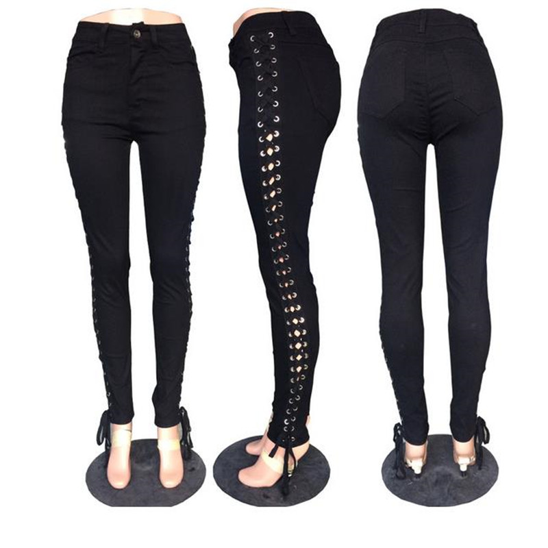 Europe and the United States fashion lateral cross lacing black jeans sell lots of hot style ladies feet jeans europe and the united states cross bikini one piece swimsuit