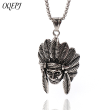 OQEPJ Gothic Indian Chief Head Necklace Pendant 316L Stainless Steel Prevent allergy Necklaces High Quality Cool Men Jewelry