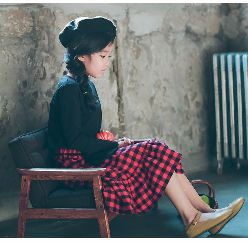 England style long skirts for baby teenage girls red plaid pleated skirt girl 2017 new spring autumn winter children clothing 5 6 7 8 9 10 11 12 13 14 15 16 years old little big teenage girls pleated skirts for kids (15)