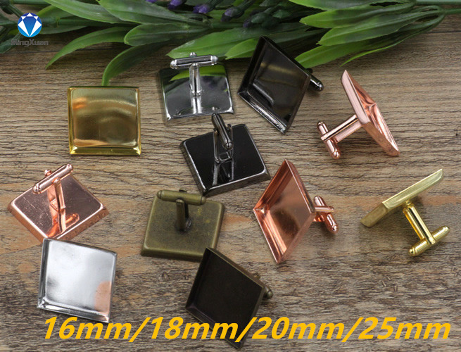 MINGXUAN 10pcs lot Square Cufflink Settings Spacer Blank Base Bezel Trays for Photo Cobochon Cameo Cufflinks