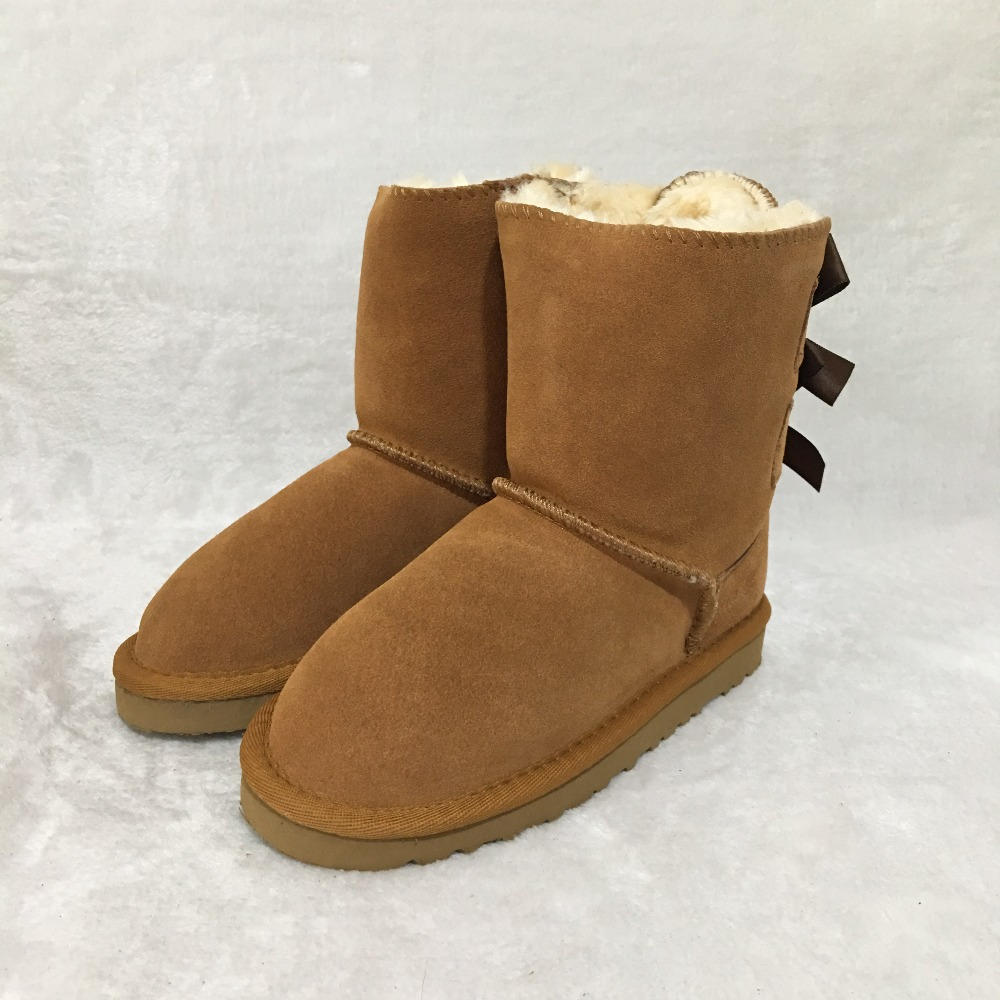 Botas de piel estilo australiano nuevo invierno 100% para niñas botas de nieve lindo arco trasero impermeable niños EU21-35 marca Ivg