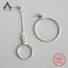 S925 Sterling Silver Dangle Earrings CHIC Geometric Round Circle Chain Manual Drop Earrings round geometric cut out arm chain