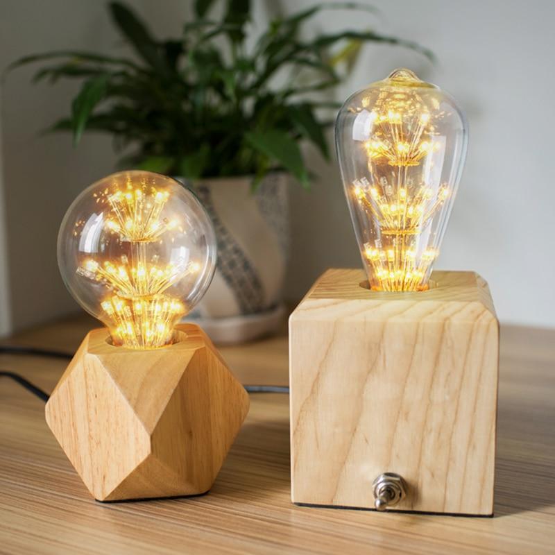 Modern Table Lamp Real wooden base lights desk night light e27 holder Mini bedside Desk lamp For Home Bedroom Decor
