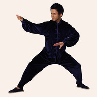 Navy Blue Traditional Chinese Classic Style Kung Fu Sets Men Tai Chi Suit Size Size XXS XS S M L XL XXL XXXL