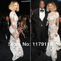 2017 Venda de Alta Regular Completa Sexy Beyonce Sereia Abrir Voltar Manga Comprida See-through Grammy Awards Celebridades Vestidos de Noite vestido