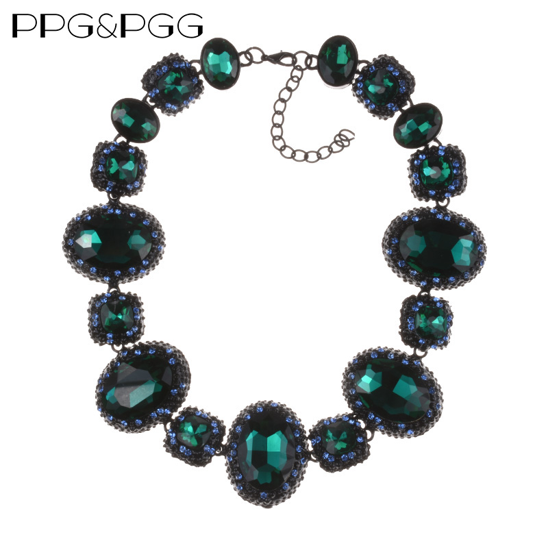 PPG&PGG New fashion Design Black glass crystal choker Collar Rhinestone Statement Necklace For Women Jewelry зимние комбинезоны и комплекты oldos костюм для девочки адела