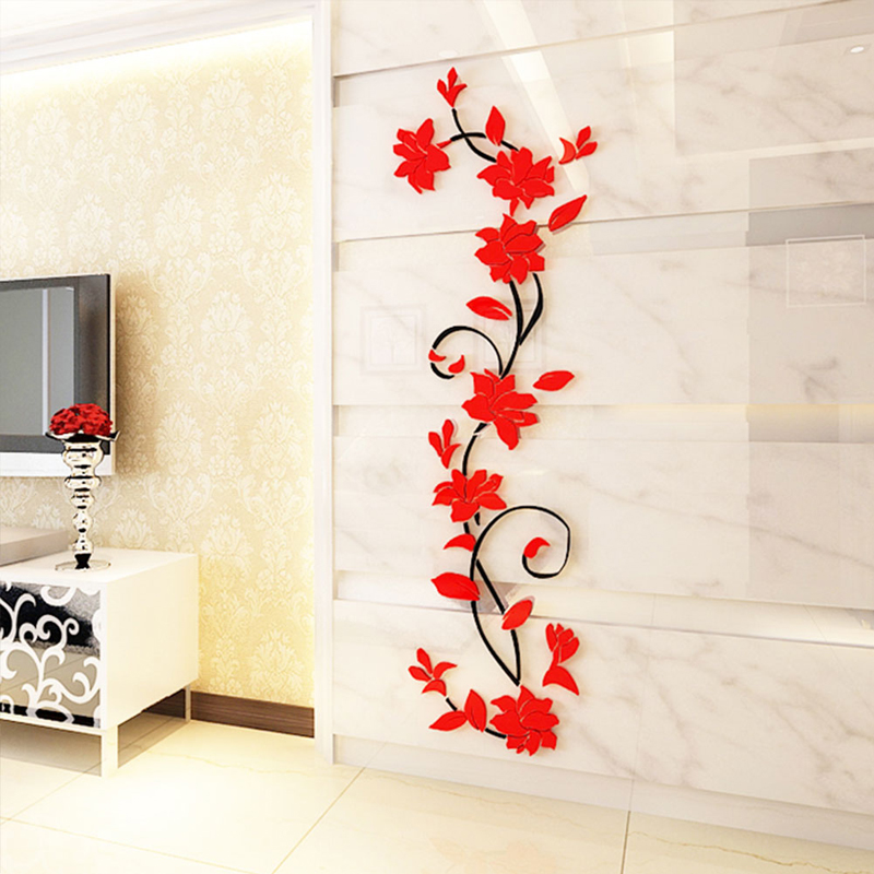 Rose Flower Wall Stickers Removable Decal Diy Art Decoration Mural Home Decor 80cm X 24cm Us513