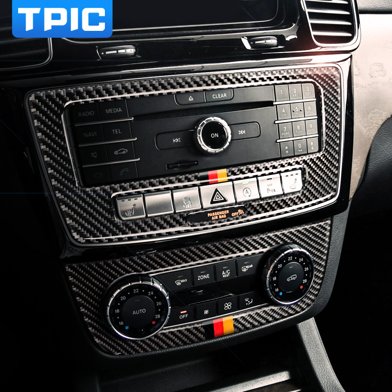 TPIC Interior Accessories Carbon Fiber CD Air Conditioning Control Plane Stickers Car For mercedes GLE 2015