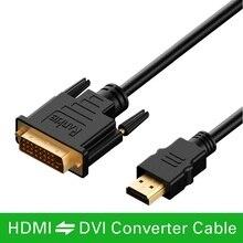 1m 1.5m 2m 3m 5m 10m kabel HDMI do DVI DVI D 24 + 1 pin przewody adaptery 1080p dla LCD DVD HDTV XBOX PS3 kabel hdmi o dużej szybkości transmisji kabel