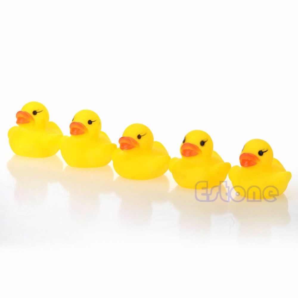 2018  Cute Baby Children Bath Toys Cute Rubber Squeaky Yellow  Duck Ducky  Lot 1/5/10/20Pcs JUL20_17