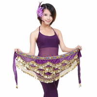3 Layer Coin with Diamond Belly Dance Waist Chain for Practice Hip Scarf Professional Bellydance Belt Stage Dancing Wear 89
