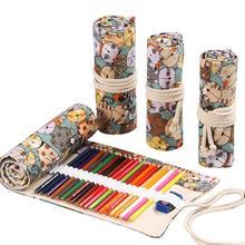 Kawaii Hight Capacity  Canvas Pen Bag Girls Boys Cute Large Pencil Case Box Stationery School Case12/24/36/48/72 Roll