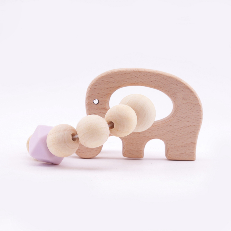 1PC  Wooden Baby Bracelet Animal Shaped Elephant Shape Jewelry Silicone Beads Eco-friendly Teething For Baby Wood Rattles Toys