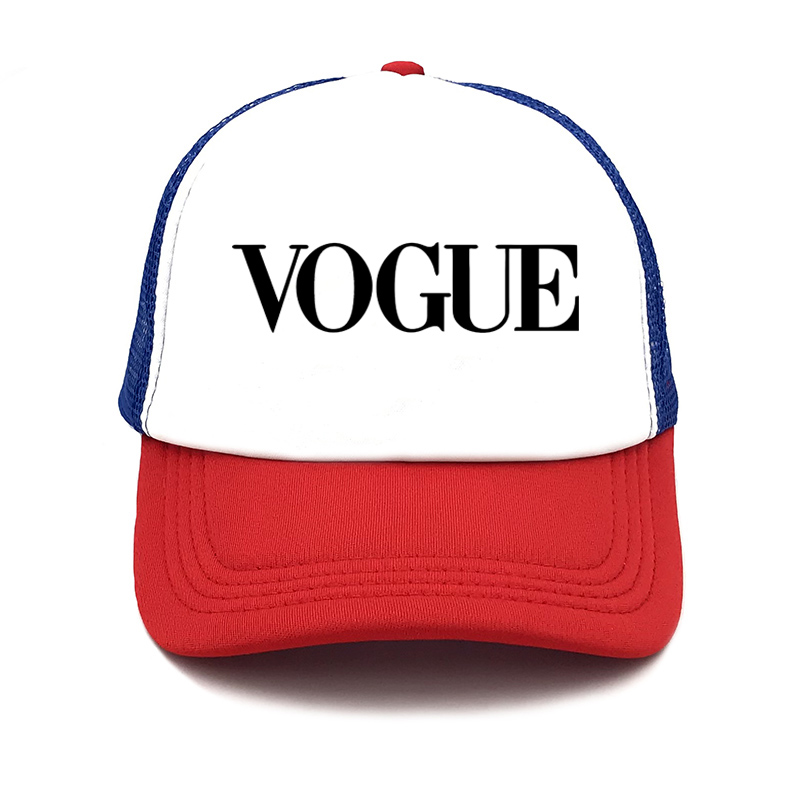 fashion VOGUE print Unstructured summer   Baseball     cap   truck driver Hat Adjustable men women net   Cap   Band black white Visor hat