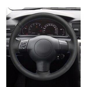 Image 2 - Hand Gestikt Zwart Pu Kunstleer Auto Stuurhoes Voor Toyota Corolla 2003 2006 Caldina RAV4 Wens scion Tc Xa Xb