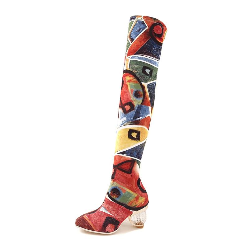 Phoentin coloré peint bottes femmes stretch tissu 2019 rétro femme botte cristal talons court et long bottes femmes chaussures FT462-in Bottines from Chaussures    2