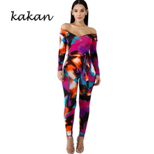 Kakan spring new women's print one-piece tights nightclub sexy tights jumpsuit nine pants color jumpsuit with belt недорого