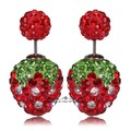 5pair/box New Design 8&16mm Fashion Double Side Crystal Rhinestone Strawberry Xmas Shamballa Stud Earrings For Women Jewelry