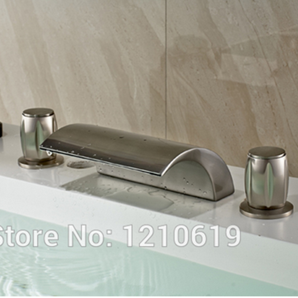 Newly US Free Shipping 3Pcs Bathroom Tub Faucet Nickle Brushed ...